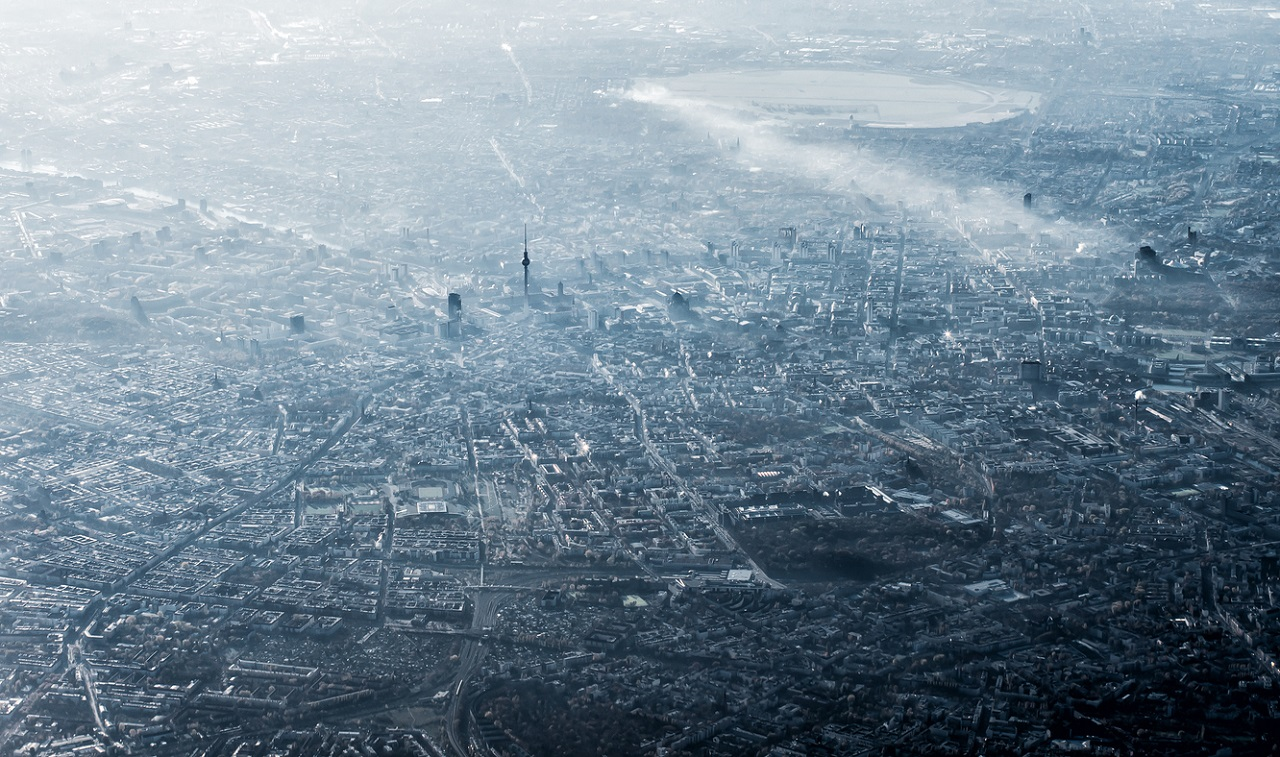 SIGNL4 | Aerial view of Berlin, Germany, monochromatic in